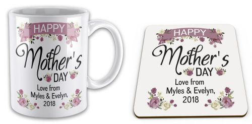 Set of 'Personalised Happy Mother's Day' Lovely Floral Novelty Mug & Coaster
